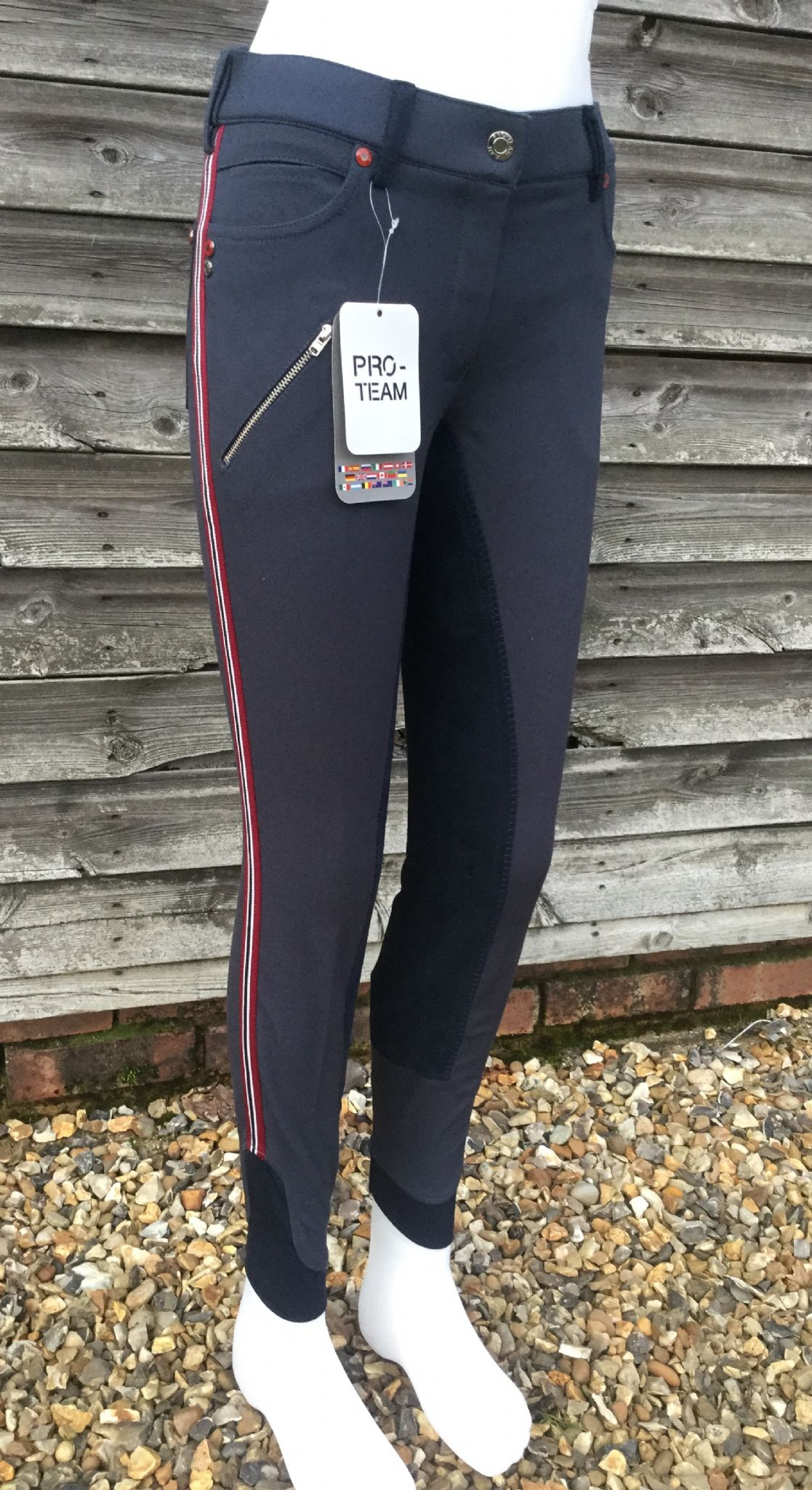 Hkm Pro Team Dynamic Stripe Ladies Breeches Deep Blue
